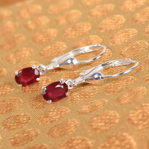 African Ruby Solitaire Lever Back Earrings in Sterling Silver 1.00 Ct.