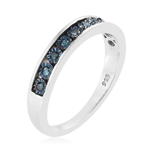 Blue Diamond (Rnd) Band Ring in Platinum and Blue Overlay Sterling Silver