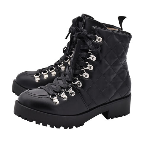 Black Ladies Lace-Up Quilted Ankle Boots (Size 4)