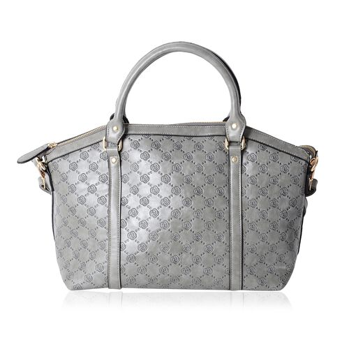 Designer Inspired-Grey Colour Rose Embossed Pattern Tote Bag with Removable Shoulder Strap (Size 41x31.5x26x15 Cm)