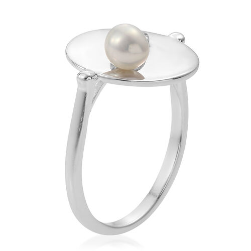 Fresh Water Pearl (Rnd) Ring in Platinum Overlay Sterling Silver, Silver wt 3.90 Gms.
