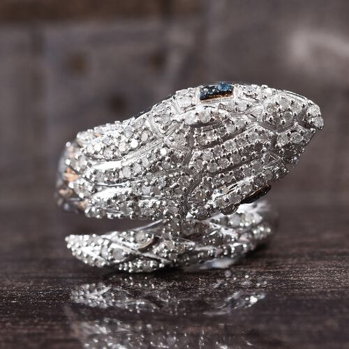 GP White and Blue Diamond (Rnd), Blue Sapphire Snake Ring in Platinum Overlay Sterling Silver 0.77 Ct, Silver wt 8.20 Gms, Number of Diamond 147
