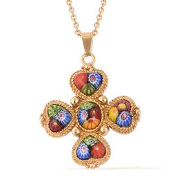 Murano Style Glass (Hrt and Ovl) Pendant With Chain (Size 20) in Yellow Plated Stainless Steel