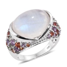 16.50 Ct Rainbow Moonstone and Multi Sapphire Classic Ring in Platinum Plated Silver 7.41 Grams