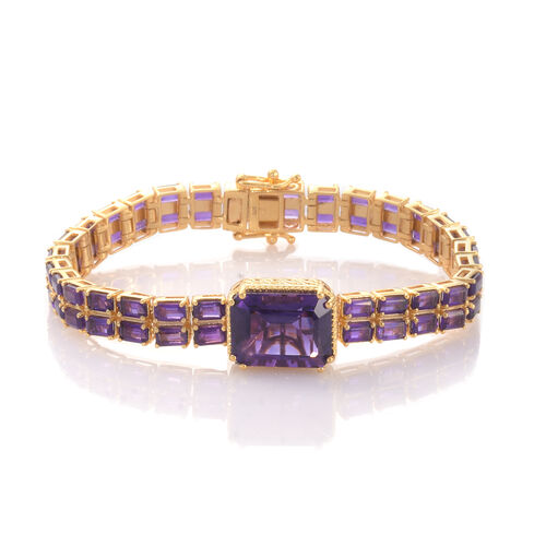 Lusaka Amethyst (Oct 11.75 Ct) Bracelet (Size 7.5) in 14K Gold Overlay Sterling Silver 27.500 Ct. Silver wt. 21.70 Gms.