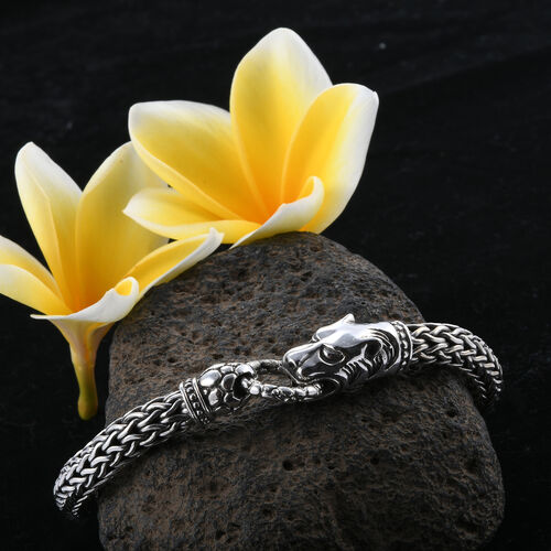 Royal Bali Collection Sterling Silver Panther Head Tulang Naga Bracelet (Size 8.5), Silver wt 62.13 Gms.