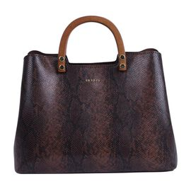 Inyati Inita Wooden Handle Grab Bag (Size 22x26x11.5 Cm) - Brown