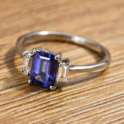 RHAPSODY 950 Platinum AAAA Tanzanite (Oct), Diamond (VS/E-F) Ring 1.25 Ct.