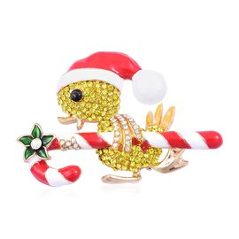 Multi Colour Austrian Crystal and Enameled Duck Design Brooch in Yellow Gold Tone