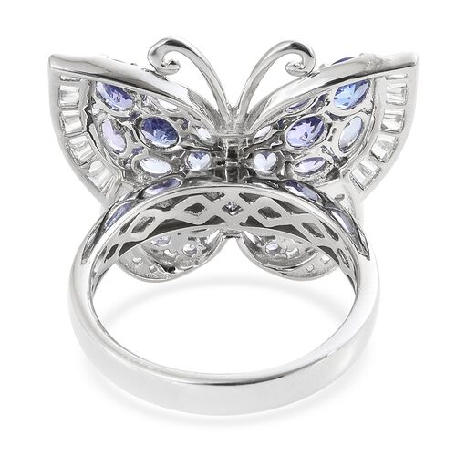 Designer Inspired- Tanzanite and Natural Cambodian Zircon Butterfly Ring in Platinum Overlay Sterling Silver 6.250 Ct. Silver wt 8.20 Gms.