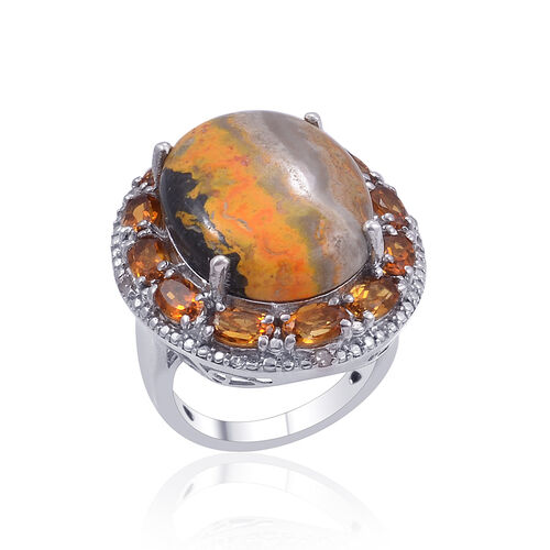 Bumble Bee Jasper (Ovl 10.50 Ct), Madeira Citrine and Diamond Ring in Platinum Overlay Sterling Silver 12.550 Ct.
