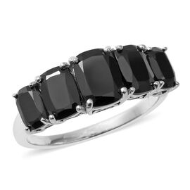 Boi Ploi Black Spinel (Cush) Five Stone Ring in Sterling Silver 5.220  Ct.