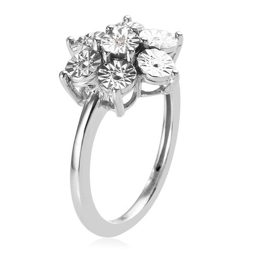 Diamond (Rnd) Floral Ring in Platinum Overlay Sterling Silver