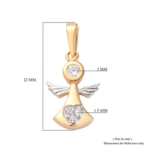 Natural Cambodian Zircon Angel Pendant in Platinum and Yellow Gold Overlay Sterling Silver