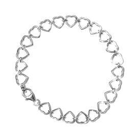 Designer Inspired - Sterling Silver Heart Bracelet (Size 7.5), Silver wt: 5.72 Gms.