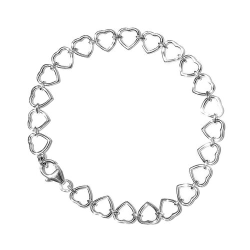 Designer Inspired - Sterling Silver Heart Bracelet (Size 7.5), Silver wt 5.72 Gms.