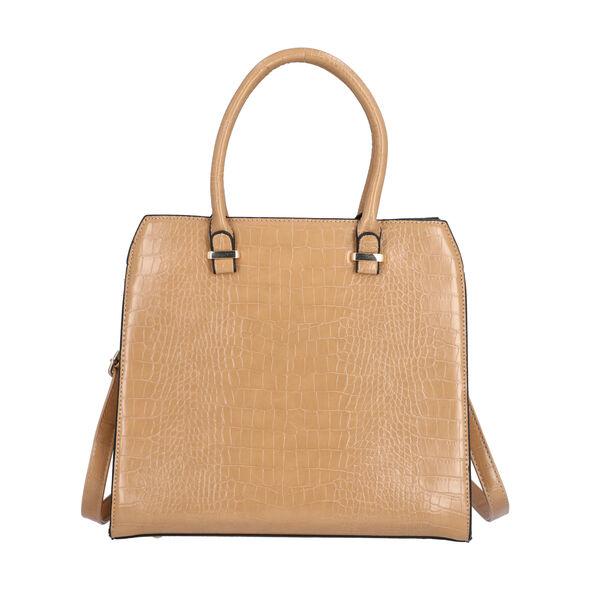 Croc Embossed Satchel Bag with Zipper Closure and Detachable Shoulder Strap (Size 32x12x28 Cm) - Lig
