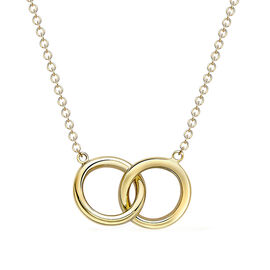Designer Inspired- Italian Made 9K Yellow and White Gold Necklace (Size 17 with 1 inch Extender), Go