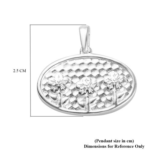 Sterling Silver Floral and Bird Two Sided Pendant