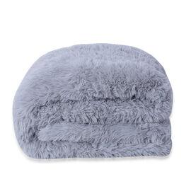 Supersoft High Quality Fuax Fur Sherpa Blanket (150x200cm) - Grey