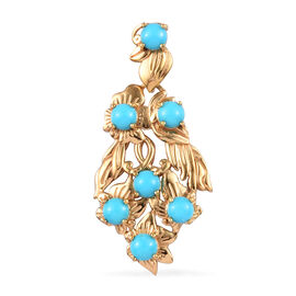 2 Carat Arizona Sleeping Beauty Turquoise Floral Vine Pendant in Gold Plated Sterling Silver