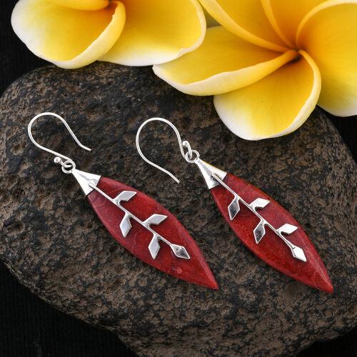 Royal Bali Collection Sponge Coral (Mrq) Leaf Hook Earrings in Sterling Silver