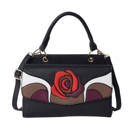 Rose Pattern Handbag with Adjustable and Detachable Shoulder Strap (30x18x13cm) - Black