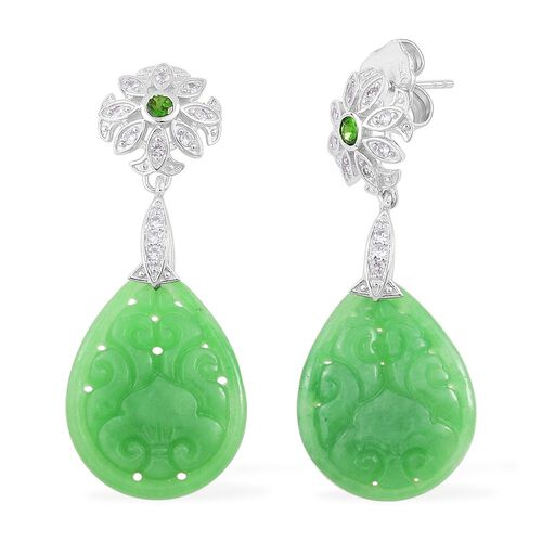 Limited Edition - Carved AAA Green Jade, Russian Diopside and White Zircon Drop Earrings (with Push Back) in Rhodium Plated Sterling Silver 22.900 Ct.