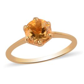 AA Citrine Solitaire Ring in 14K Gold Overlay Sterling Silver 1.25 Ct.