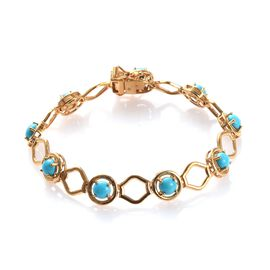 4.50 Ct Arizona Sleeping Beauty Turquoise Station Bracelet in Gold Plated Silver 10 Grams 7 Inch