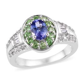Tanzanite (Ovl), Tsavorite Garnet and Natural Cambodian Zircon Ring (Size S) in Platinum Overlay Sterling Sil