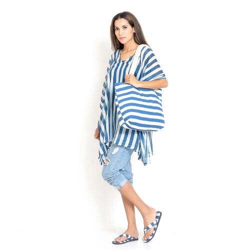 100% Cotton Blue and White Colour Stripe Printed Kaftan (Free Size), Bag (Size 50x40 Cm) and Flip Flops