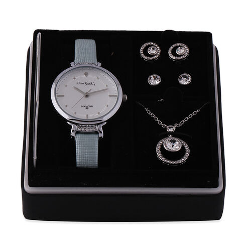 4 Piece Pierre Cardin Diamond Collection Ladies Set - Includes Diamond Studded Light Blue Leather Strap Watch, Pendant with Chain (Size 18 with 2 inch Extender) and Set of 2 Crystal Stud Earrings