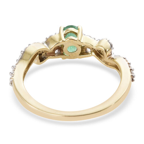 9K Yellow Gold AAA Kagem Zambian Emerald (Ovl), Natural Cambodian Zircon Ring 1.000 Ct.