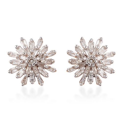 Diamond (Rnd and Bgt) Snow Flake Earrings (with Push Black) in 14K Gold Overlay Sterling Silver 0.33 Ct.