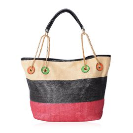 Beige, Black and Red Colour Tote Bag (Size 31x30x16 Cm)