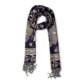 Paisley Floral Pattern Scarf (Size 70x200 mm) - Navy
