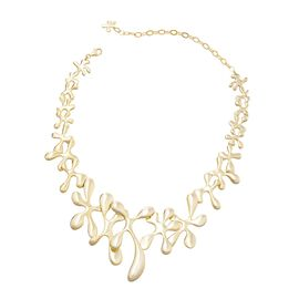 LucyQ Statement Necklace in Gold Plated Sterling Silver 74.84 Grams 14 with 5 inch Extender