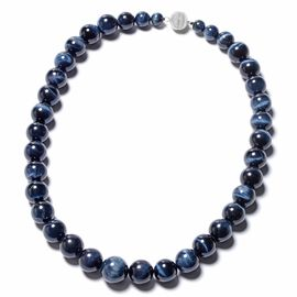 680 Ct Blue Tiger Eye Beaded Necklace with Magnetic Lock in Rhodium Plated Sterling Silver 20 Inch