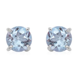 Sky Blue Topaz (Rnd) Stud Earrings (with Push Back) in Sterling Silver 3.160 Ct.