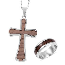 2 Piece Set - Stainless Steel Band Ring and Cross Pendant with Chain (Size 24)