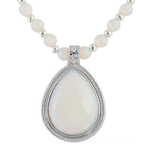 One Time Deal- Opalite (Pear 40x31 mm) Drop Pendant Beads Necklace (Size 18 and 2 inch Extender) in Silver Plated.