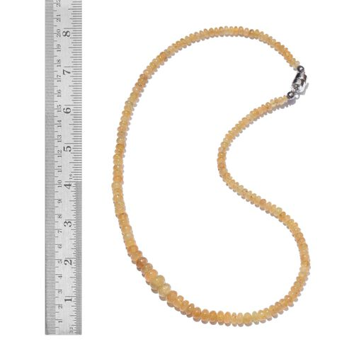 One Time Deal-Rare Brazilian Canary Aquamarine (Rnd) Necklace (Size 18) with Magnetic Clasp in Sterling Silver 93.150 Ct.