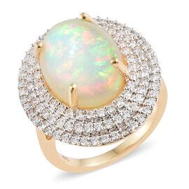 ILIANA 18K Yellow Gold AAA Ethiopian Welo Opal (Ovl 7.90 Ct), Diamond  Ring 9.000 Ct.