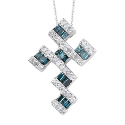 GP Blue Diamond (Bgt), White Diamond and Kanchanaburi Blue Sapphire Cross Pendant With Chain in Plat
