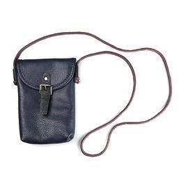 100% Genuine Leather Crossbody Bag (Size 13x4x20cm) - Navy