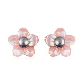 Purple Mother of Pearl and Freshwater Peacock Pearl Flower Stud Earrings in Rhodium Plated Silver