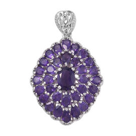 Lusaka Amethyst (Ovl and Pear) Cluster Pendant in Platinum Overlay Sterling Silver 6.500 Ct, Silver