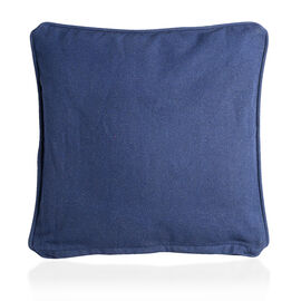 4 Piece Set - 100% Luxury Cotton Cushion Cover with Piping and Zipper in Colour Navy (40x40 cm)
