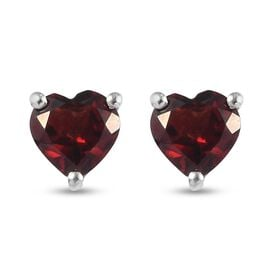 Red Garnet Earring in Platinum Overlay Sterling Silver 1.00 ct  1.000  Ct.